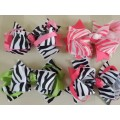 Zebra Print Ribbon Color Layered Hair Bow
